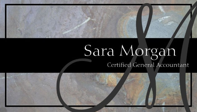 Modern Monogram Stone Texture General Accountant Business Cards