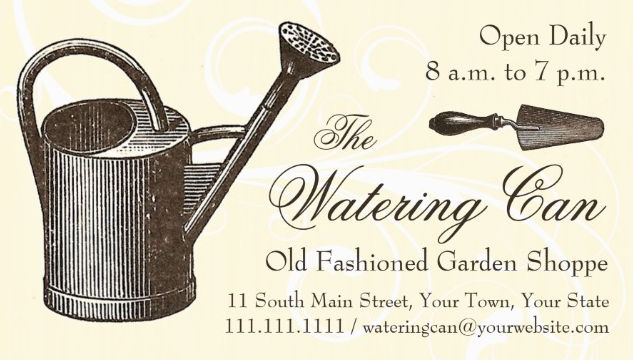 Vintage Watering Can Old Fashioned Garden Shop Business Cards