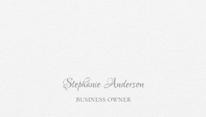 Professional Plain White Minimalist Gray Script Business Cards