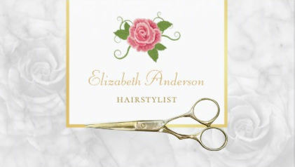 Elegant Marble Hairstylist Gold Shears and Rose Business Cards