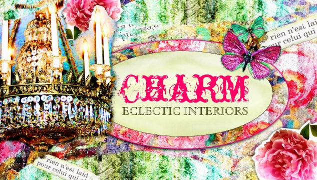 Vintage Charm Eclectic Interiors Pink Butterfly and Rose Business Cards