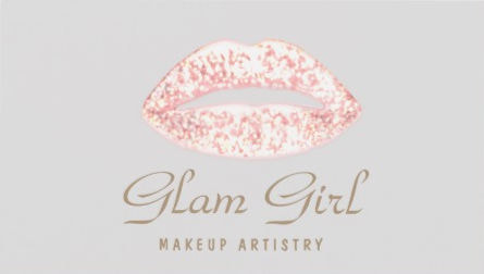 Soft Pink Retro Glam Girl Glitter Lips For Makeup Artist Business Cards