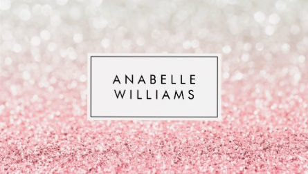Sweet Pink Ombre Glitter and Romantic Bokeh Pattern Business Cards