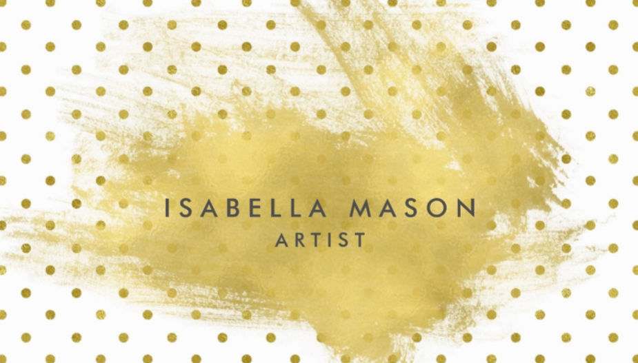 Stylish White and Gold Polka Dots Gold Splatter Artist Business Cards