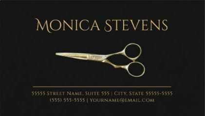 Professional Hair Stylist Black With Gold Scissors Business Cards