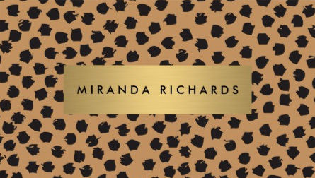 Luxe Cheetah Animal Print Confetti Dots with Gold Bar Business Cards