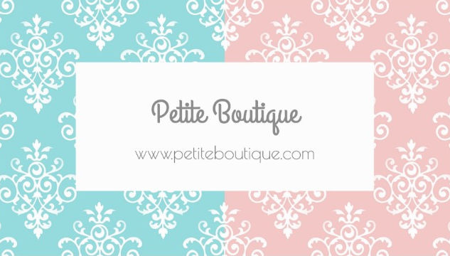 Sweet Pastel Pink and Blue Damask Boutique Business Cards