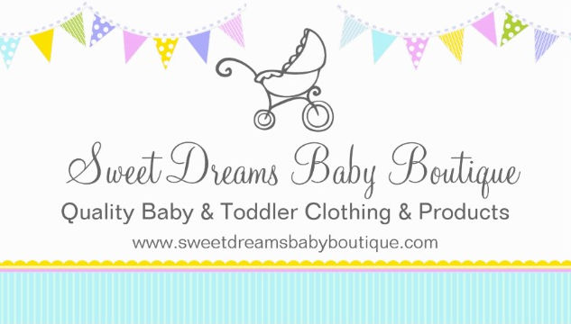 Sweet Aqua and Yellow Baby Bunting Clothing Boutique Business Cards