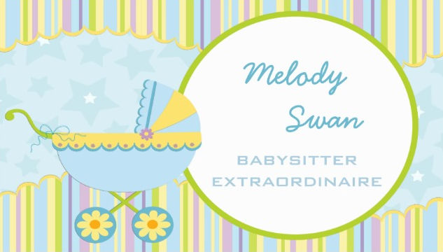 Cute Blue and Yellow Baby Stroller Babysitter Business Cards