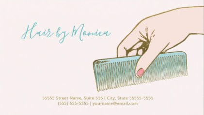Simple Hair Stylist With Hair Comb in Hand Business Cards