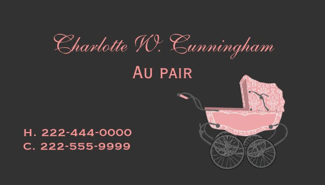 Vintage Baby Pram Chic Pink And Black Newborn Nanny Business Cards