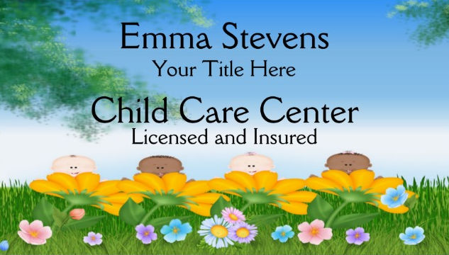 Adorable Flower Babies Licensed Child Care Center Business Cards