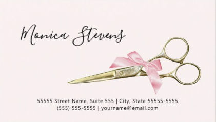 Luxury Hair Salon Gold Glitter Romantic Pink Bokeh Business Cards