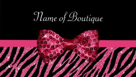 Chic Boutique Pink Glitter Zebra Print Luxe Sequin Bow Business Cards