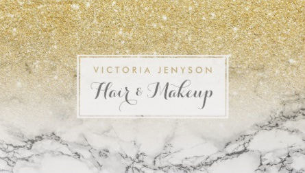 Elegant Faux Gold Glitter Ombre White Marble Professional Business Cards