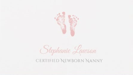 Cute Pink Baby Footprints Certified Newborn Nanny Childcare Business Cards