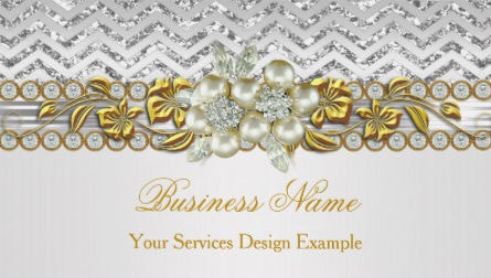 Gold Silver Chevron With White Diamond Pearl Floral Business Cards